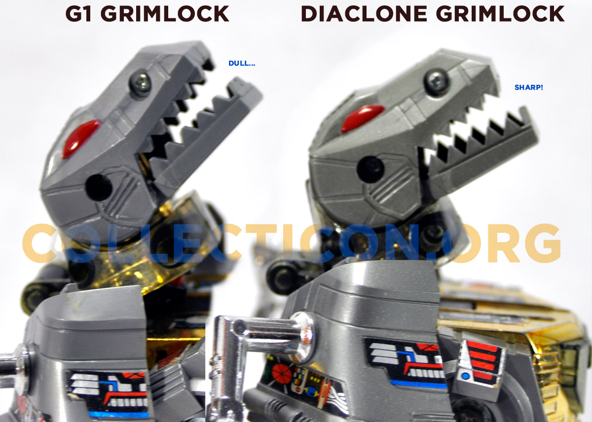 G1 Grimlock vs Diaclone Grimlock teeth comparison