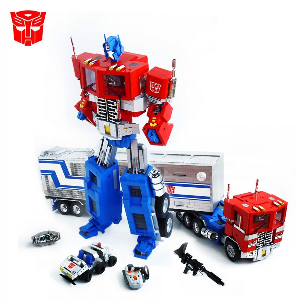 Transformers Optimus Prime made of legos