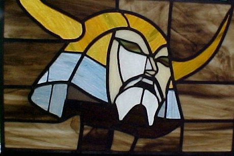 Stained Glass window depicting Unicron's head