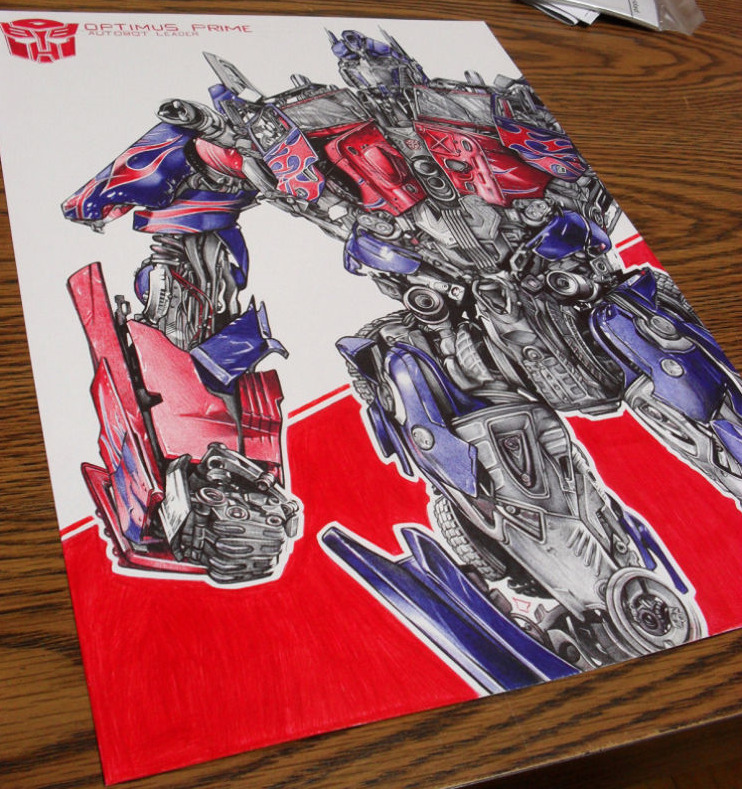 Optimus Prime drawn in ball-point ink pen