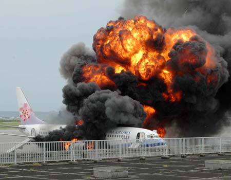 Japanese plane explodes on runway
