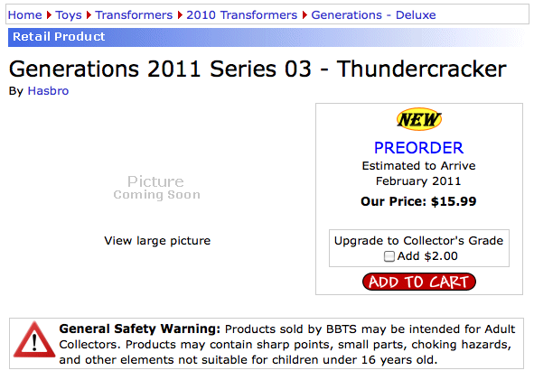 Transformers Generations 3.0 Thundercracker preorder at BBTS