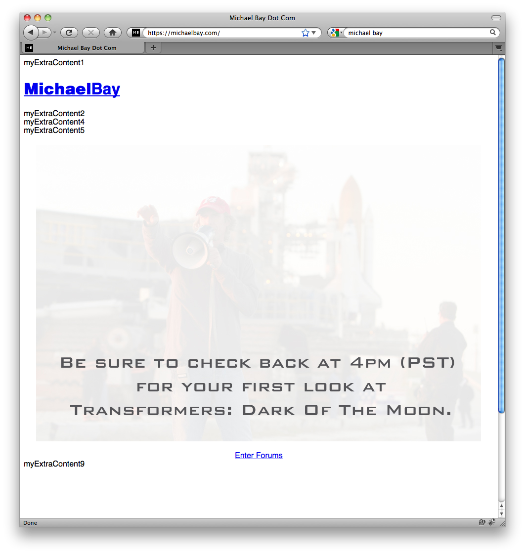 Michael Bay's site sluggish due to Transformers 3 trailer