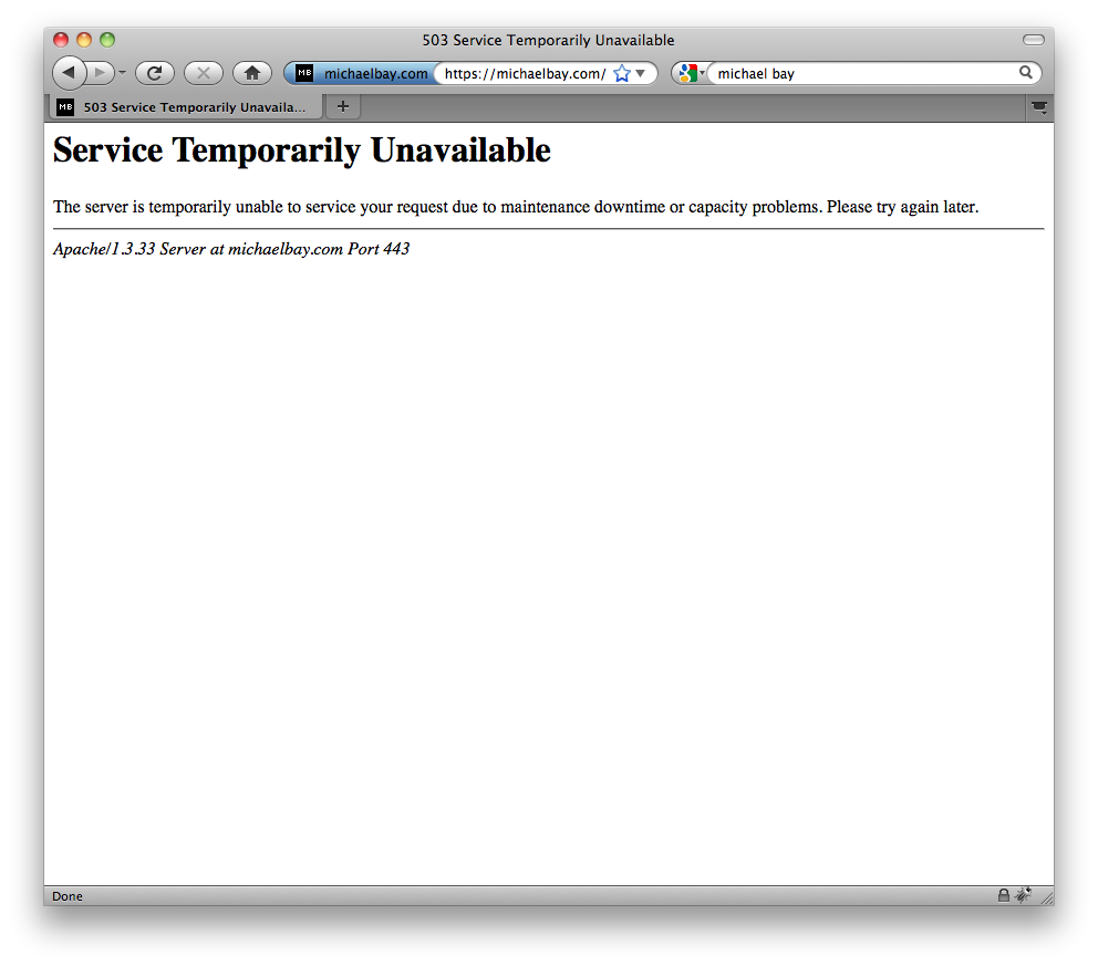 Michaelbay.com down for launch of Transformers 3 announcement trailer