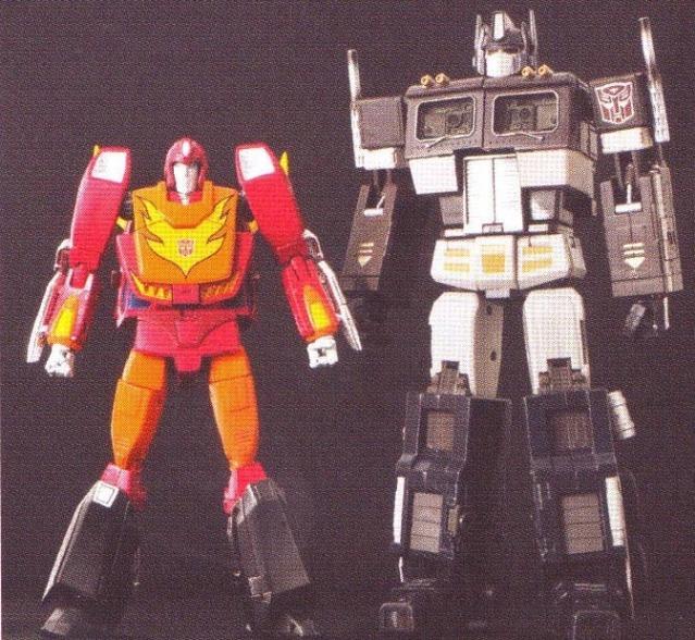 Masterpiece Rodimus Convoy size comparison with Optimus Prime