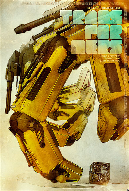 Artistic representation of Transformers Movie poster by Tomasz Opasinki – LISTEN UP MONDO!