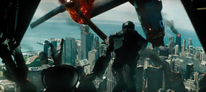 Transformers 3 burning Chicago skyline hancock building