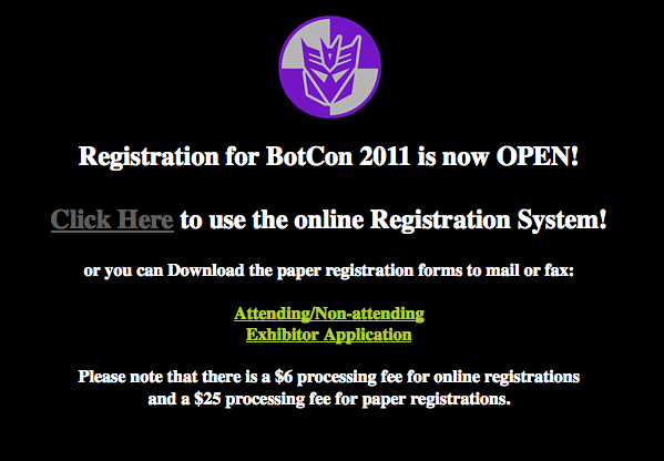 Botcon 2011 registration is online! – Try, try, try again!