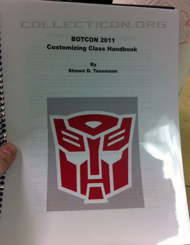 Botcon 2011 customizing class book