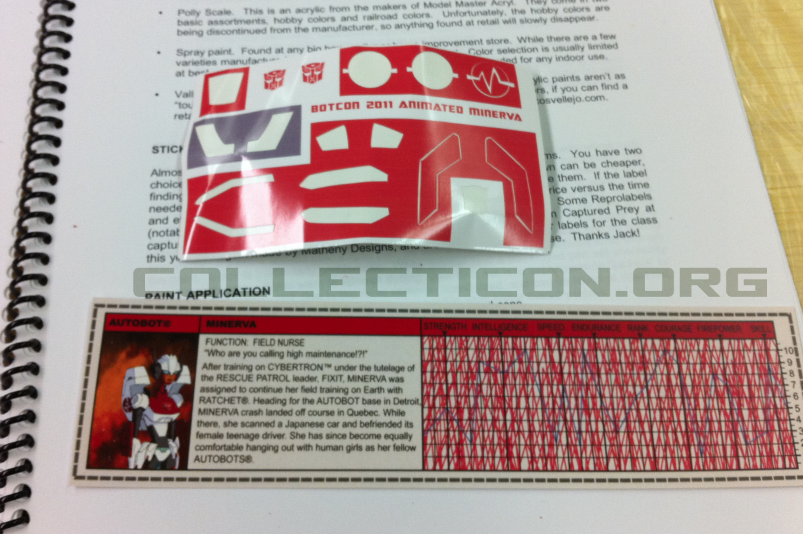 Botcon 2011 Animated Minerva sticker sheet techspec