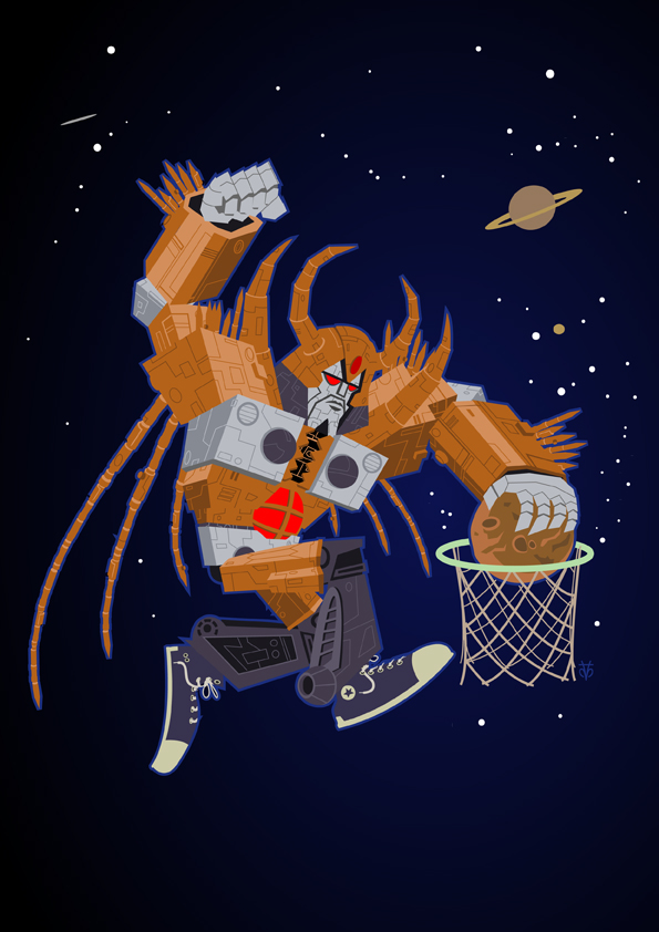 Unicron dunking a planet basketball