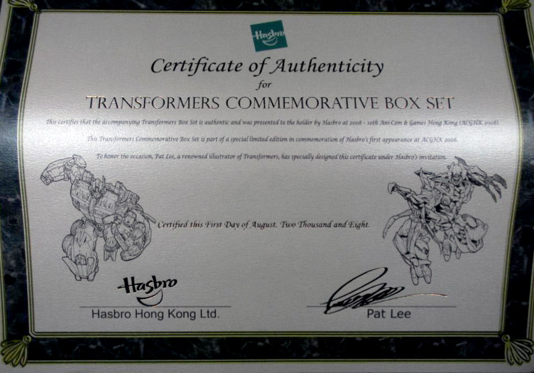 Transformers Movie giftset certificate of authenticity drawn by Pat Lee