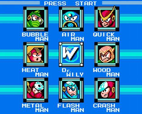 Mega Man 2 start screen bosses