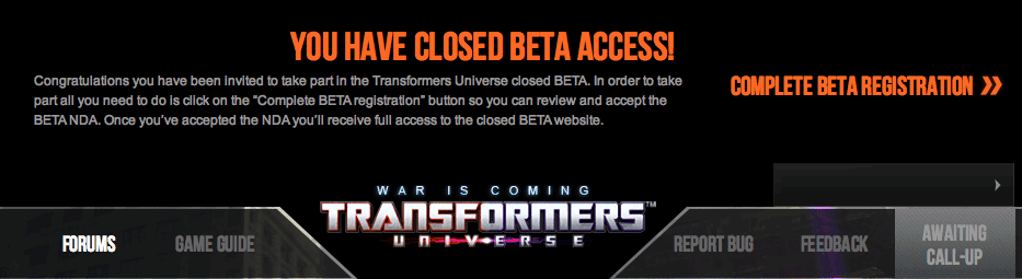 Transformers Universe Online Closed Beta access being granted!