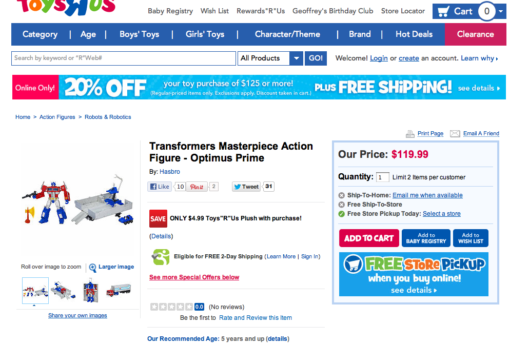 Masterpiece Optimus Prime price is now $120