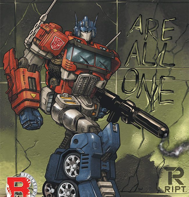 Optimus Prime #1 Retailer Exclusive Cover by RIPT Apparel Homages Shockwave