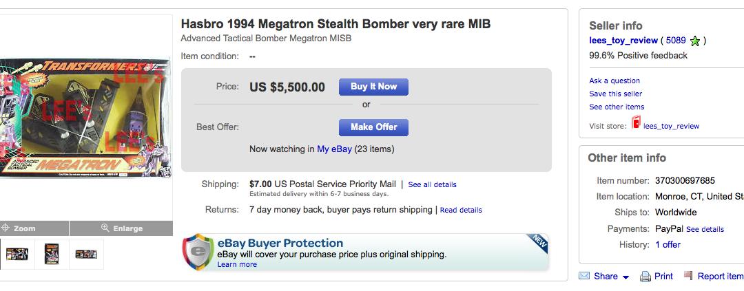 ATB Megatron and Starscream on Ebay – $5,500