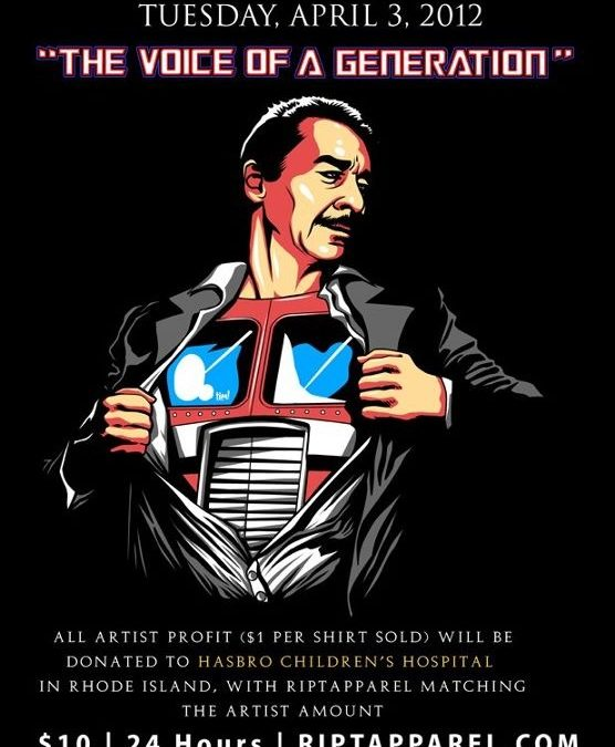 """""""Voice of a Generation"""" charity t-shirt available Tuesday April 3rd at RIPT Apparel – Peter Cullen meets Superman"""