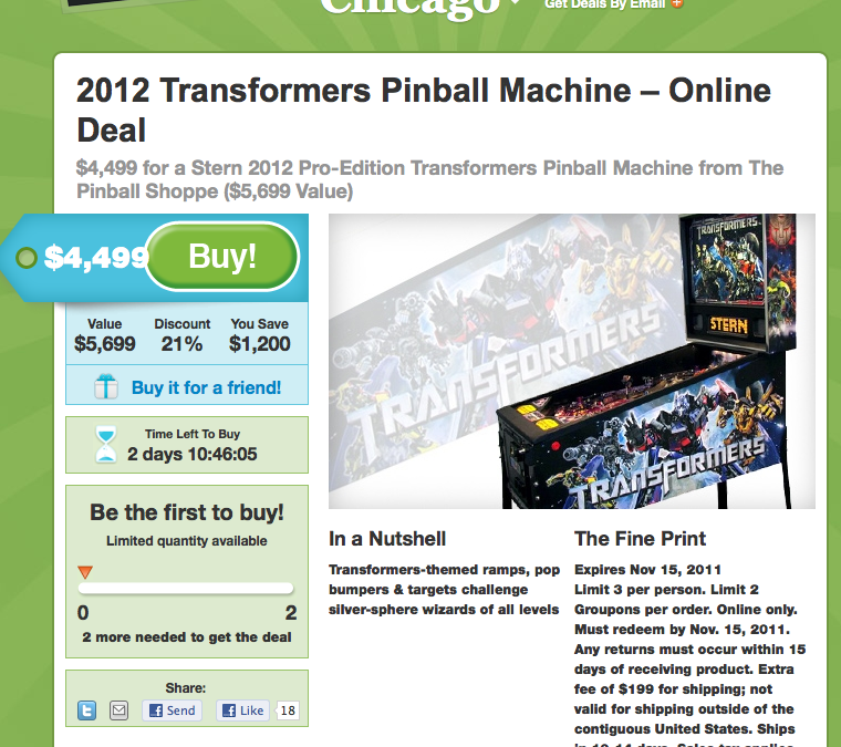 Transformers Pinball from stern available on Groupon!? – price SLASHED to $4,499