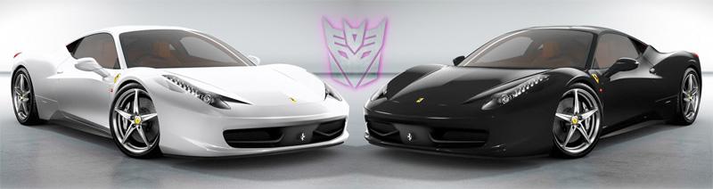 Runamuck and Runabout in Transformers 3 as Decepticon Ferrari 458's?