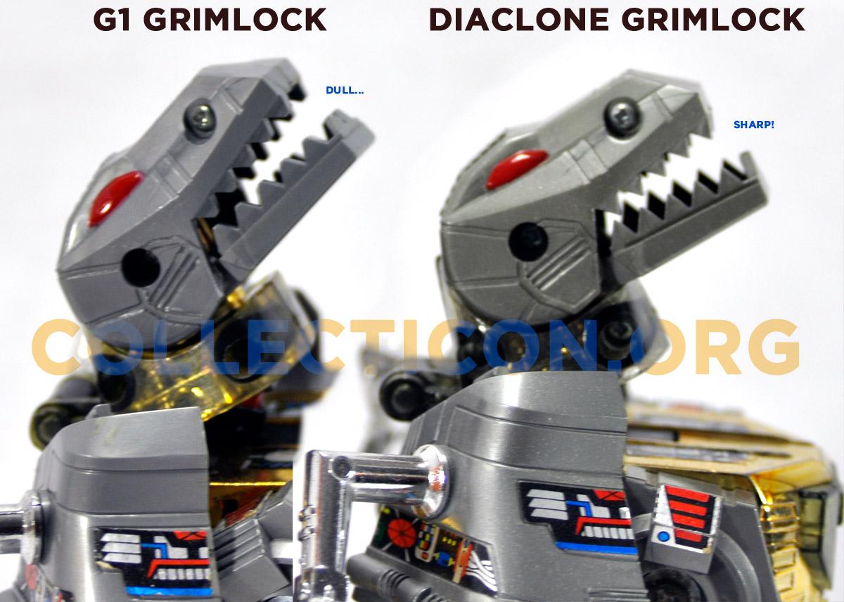 G1 Grimlock vs Diaclone Grimlock teeth comparison