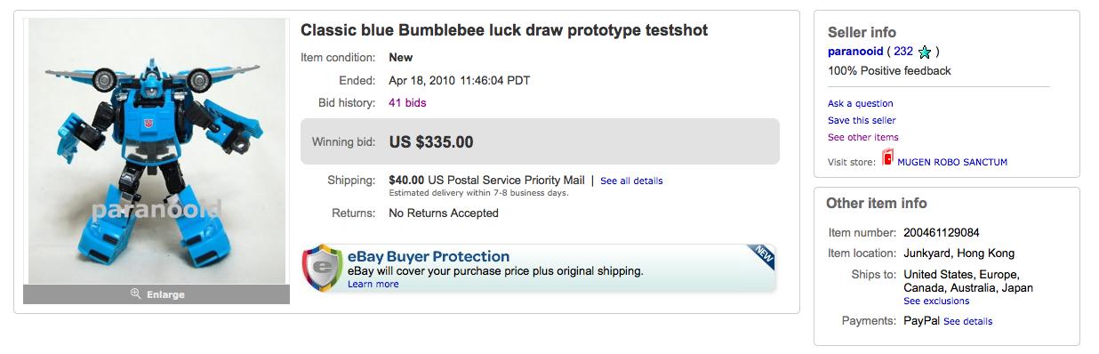 Henkei Blue Bumblebee final high bid of $335 + $40 shipping
