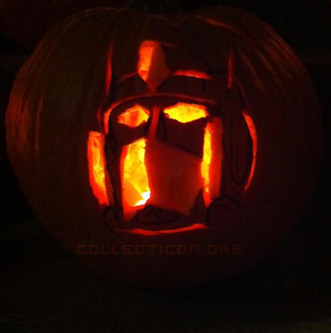Optimus Prime on a pumpkin