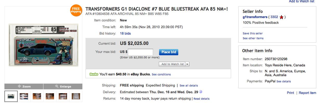 Diaclone Fairlady Z No.07 Bluestreak on Ebay