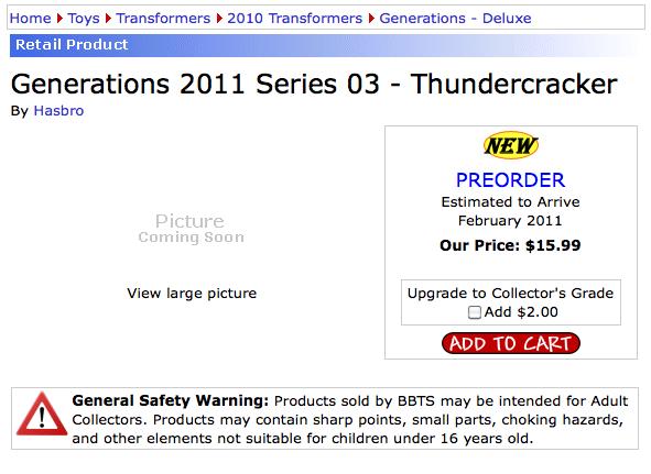 Transformers Generations 3.0 Thundercracker preorder at BBTS