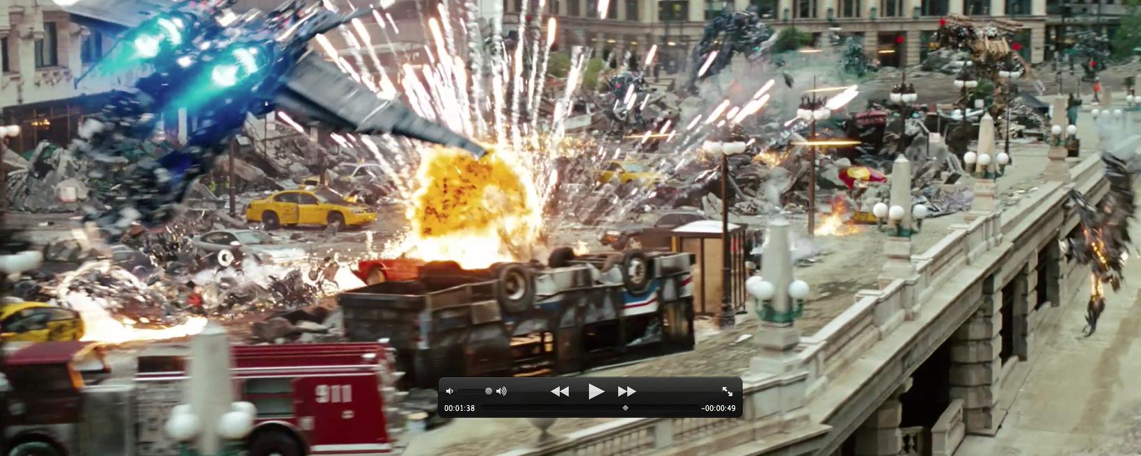 Transformers 3 jetwing Optimus Prime kicks ass Decepticons