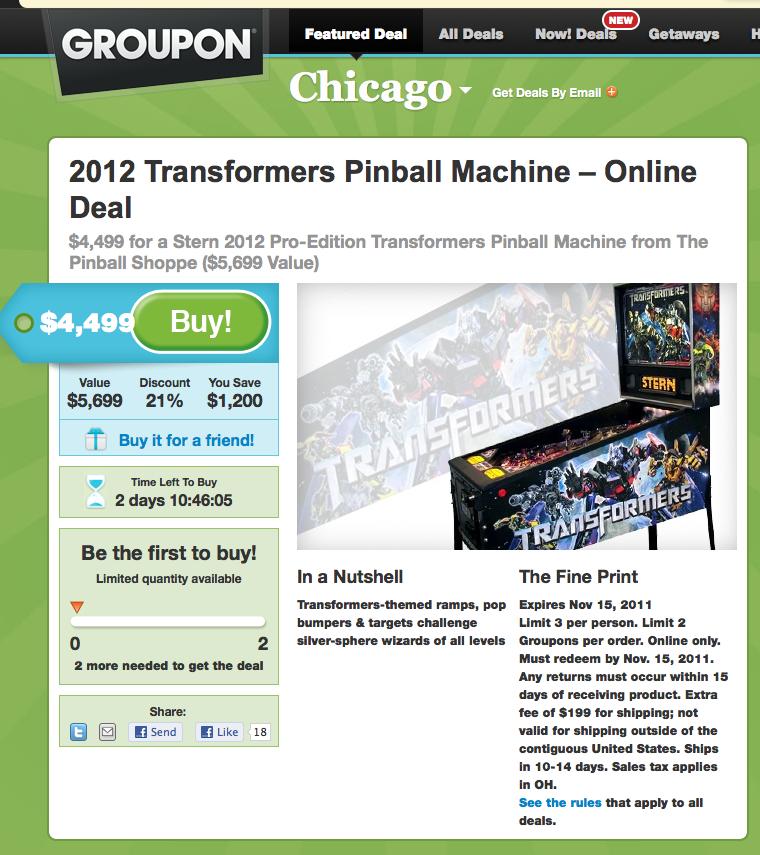 Transformers Pinball Groupon page