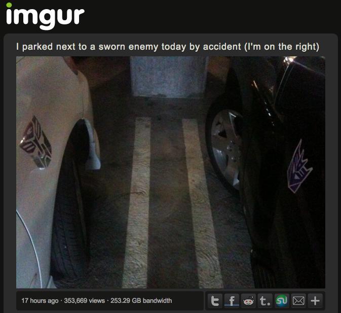 Autobot parked next to Decepticon