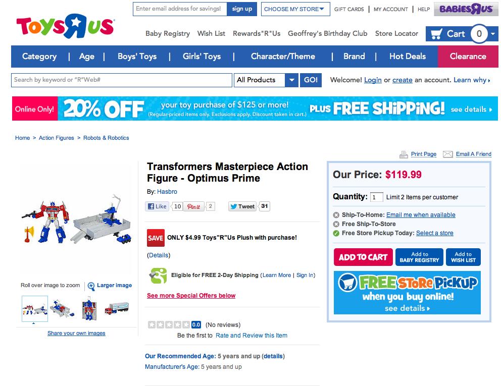 Masterpiece Optimus Prime TRU exclusive price increase online
