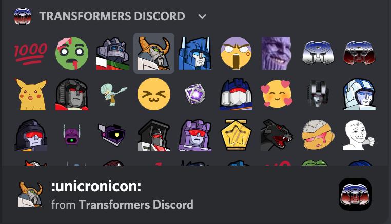 Custom Transformers Emoticons on Discord server
