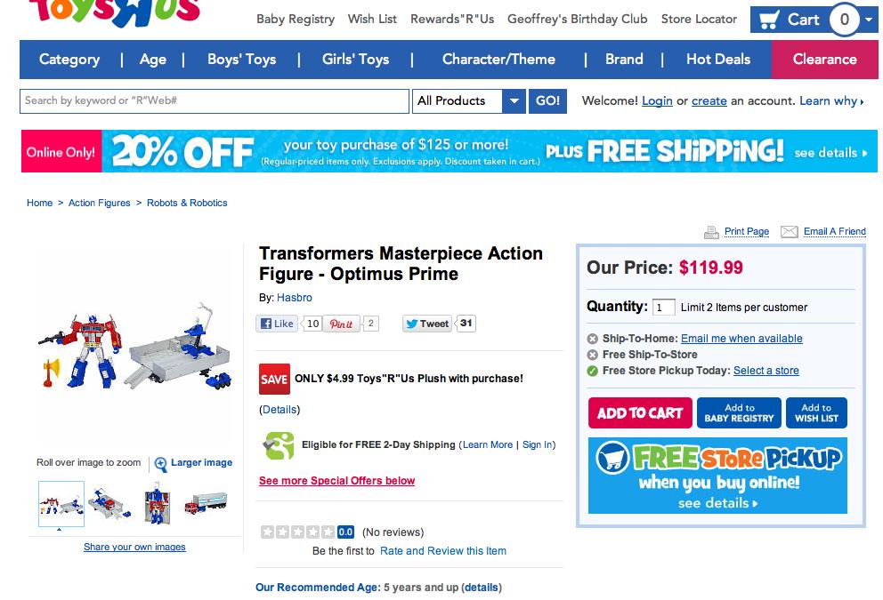 Masterpiece Optimus Prime price is now $120
